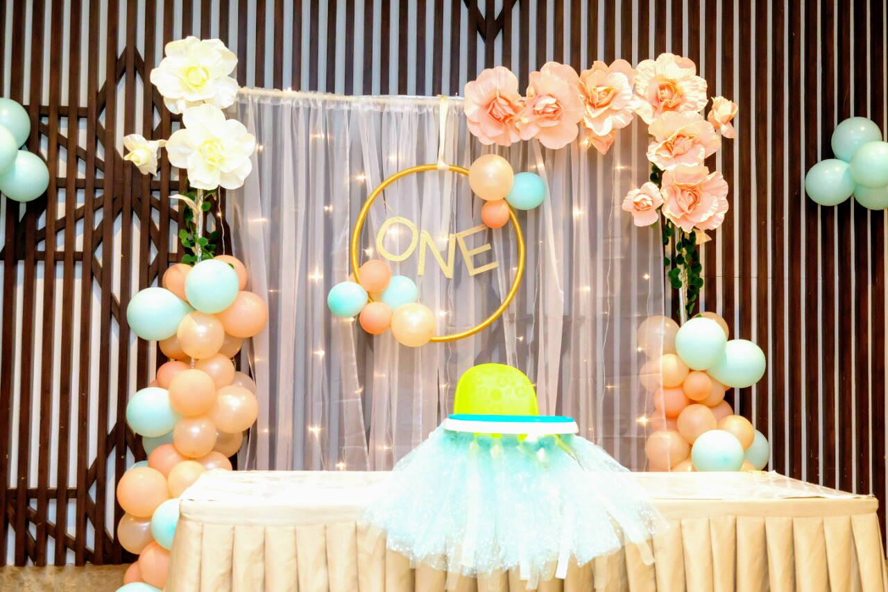 pastel balloons decoration for girl birthday party
