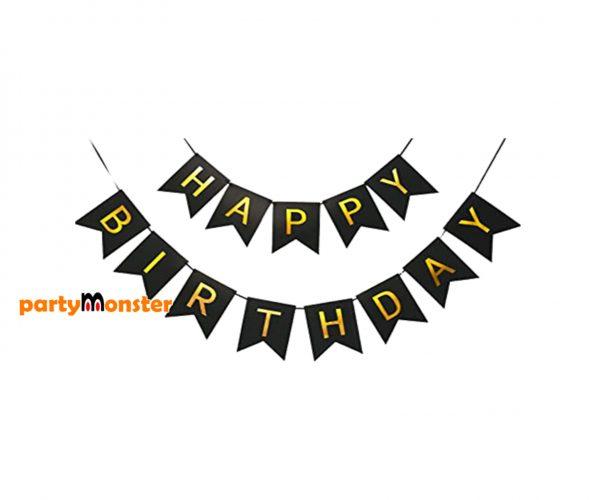 Happy Birthday Bunting – Black