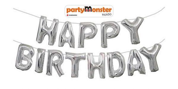 Happy Birthday Foil Banner – Silver